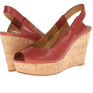 Nine West Brown Leather Cantalope Wedge Sandals